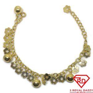 Flower & Bell charms 7 inch Bracelet 999 gold